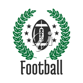 Football sports club or team symbol with ball, framed by heraldic laurel wreath and stars. American football competition theme design