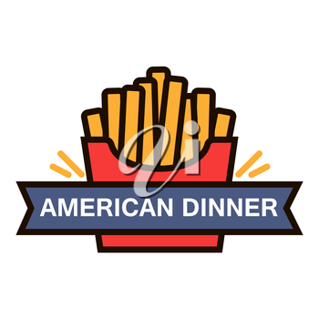 American fast food dinner retro badge with takeaway red paper box of french fries. Use as fast food cafe menu or food delivery service design. Thin line style