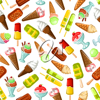 Ice cream seamless wallpaper. Background with pattern of color ice cream desserts. Eskimo pie, slushie, frozen ice, sorbet, gelato, sundae, scoops in cones and cups for cafe or restaurant menu, decora