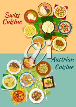 Swiss and austrian cuisine icon with cheese fondue, various meat and potato dishes with pickles, cheese and vegetables, sausages with sauerkraut, ravioli, dumplings, minestrone soup, saffron risotto