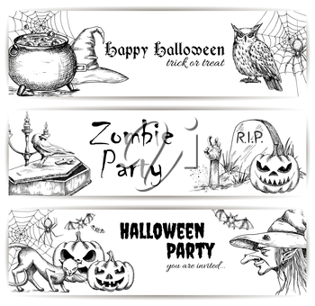 Halloween vector pencil sketch decoration elements. Sketched icons of scary witch in hat, bubbling potion in cauldron, coffin and tomb with zombie hand, creepy pumpkins, black cats. Halloween party de