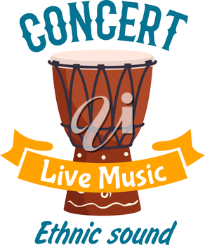 Live music ethnic concert isolated label emblem. Vector musical instrument of traditional african folk talking drum, ethnic conga drum, percussion tambourine. Music fest design with yellow brown ribbo