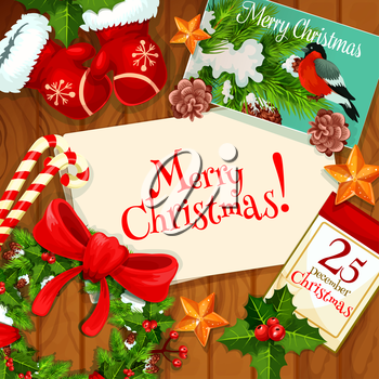 Merry Christmas greeting card with holly berry and fir tree wreath with red ribbon bow, candy cane, santas glove, golden star, calendar with Christmas Day page and postcard with bullfinch