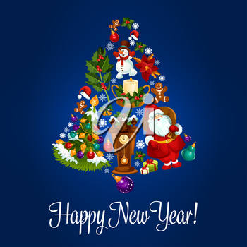 Happy New Year. Vector poster with christmas symbols of jingle bell, christmas balls, santa claus, new year gifts, sweets, wall clock, christmas tree with garland lights, gingerbread cookies, candles,