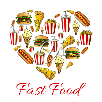 Fast food poster. Heart shape symbol of vector cheeseburger sandwich, pizza slice with french fries, hot dog, soda drink and ice cream, popcorn and donut dessert