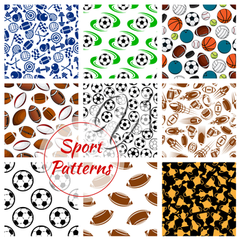 Sport patterns set of balls and sports gaming items of soccer football, volleyball and basketball, rugby and bowling, tennis rackets, skates darts and hockey puck, fitness dumbbells with gold cup awar