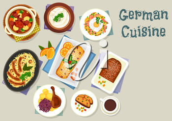 German cuisine Christmas dinner icon with pork sausage, cabbage mushroom stew with sausage, fried cheese potato with egg, potato bean soup with pork, goose with apple, cake stollen with fruits and nut
