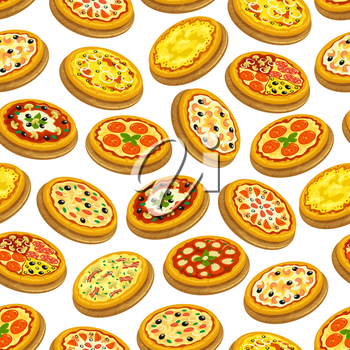 Pizza seamless pattern. Italian cuisine background of vector flat pizza icons. with vegetables, meat, mushrooms, cheese, olive, salami, oregano. Decoration pattern for pizzeria restaurant