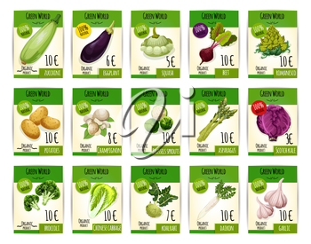 Vegetables price tags. Farm fresh zucchini squash and eggplant, beet, romanesco broccoli and potato, champignon mushroom, brussels sprouts and asparagus, scotch kale and chinese cabbage, kohlrabi, dai