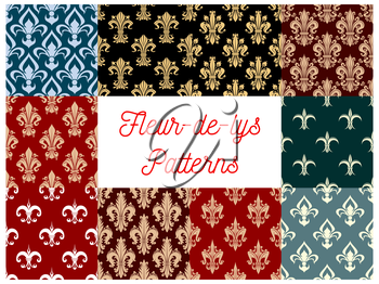 Fleur-de-lis seamless patterns set. Vector royal heraldic french lily floral ornament or flourish tracery and flowery embellishment. Fleur-de-lys backdrop for interior design. Imperial ornate motif ti