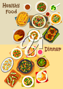 Dinner menu icon with seafood soup, mussels with vegetables, pasta and wine sauce, shrimp, tomato and carrot salads, baked potato dishes with cheese and bacon, eggs with fish, meatball, fruit pudding