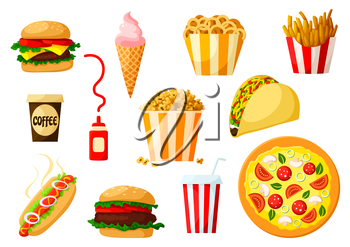 Fast food dishes with drinks and dessert icon set. Hamburger, pizza, hot dog, taco, cheeseburger, coffee and soda cups, ice cream cone, boxes of french fries, popcorn and onion rings, ketchup sauce