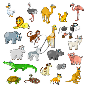 Cartoon zoo animals and pets. Duck, ostrich and flamingo birds, camel and cat. Wild lion, cow and rhinoceros, monkey and african giraffe. Vector isolated icon of goat or ram, hippopotamus, wolf dog an