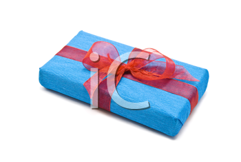 Royalty Free Photo of a Blue Gift Box With Bow