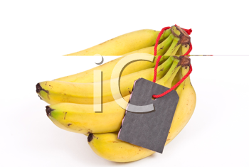 Royalty Free Photo of a Bunch of Bananas With a Tag
