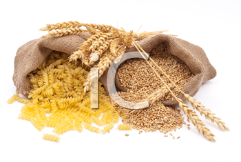 Sacks of wheat grains and pasta