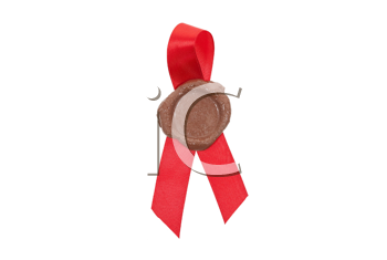 Round red wax seal on a red ribbon