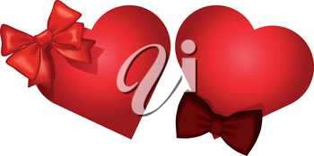 Template for wedding, greeting, invitation or valentines day card with heart and ribbon