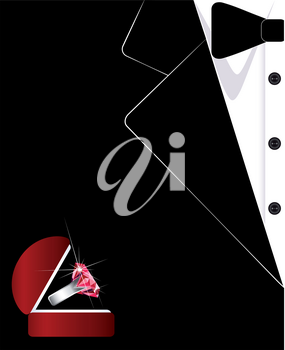 Men's suit. The tuxedo. Jewelry. Business card