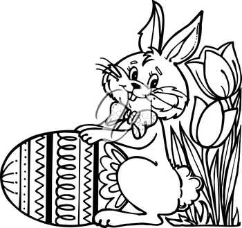 Royalty Free Clipart Image of an Easter Bunny With an Egg