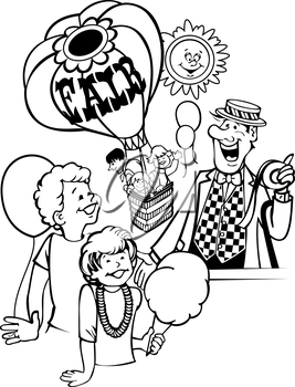 Royalty Free Clipart Image of Children at a Fair