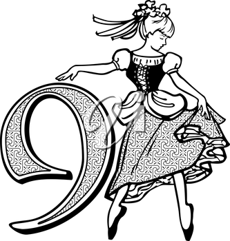 Royalty Free Clipart Image of One of Nine Ladies Dancing
