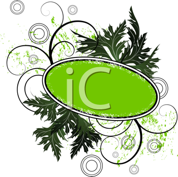 Royalty Free Clipart Image of a Frame With Leaves and Flourishes