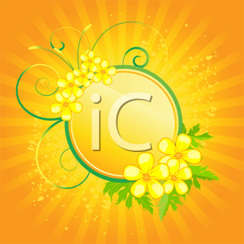 Royalty Free Clipart Image of a Floral Frame on a Radiant Background