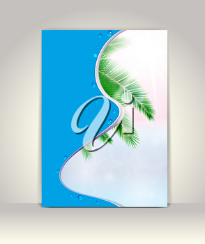 Business brochure template, tropical vector background