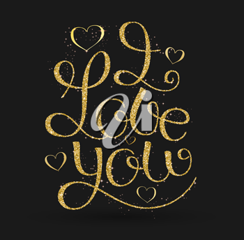 I Love You, hand written lettering, hand written lettering in golden dots style