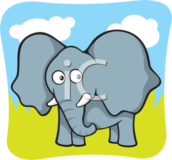 Royalty Free Clipart Image of a Baby Elephant