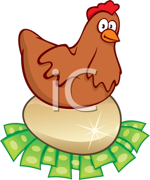 Royalty Free Clipart Image of a Hen Sitting on a Golden Egg