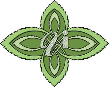 Royalty Free Clipart Image of Leaves With a Celtic Design