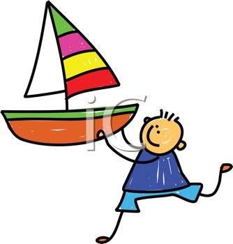 Royalty Free Clipart Image of a Boy With a Sailboat