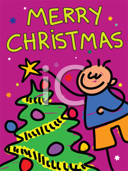 Royalty Free Clipart Image of a Boy Decorating a Christmas Tree