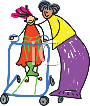 Royalty Free Clipart Image of a Woman Helping a Disabled Child