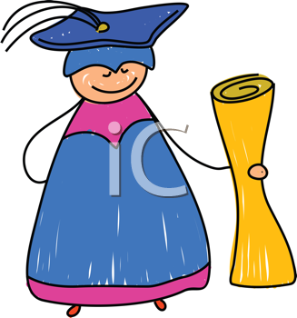 Royalty Free Clipart Image of a Graduate With a Diploma