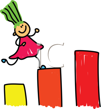 Royalty Free Clipart Image of a Girl on Blocks