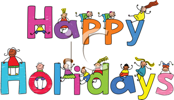 Royalty Free Clipart Image of Happy Holidays With Children