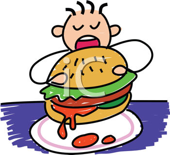 Royalty Free Clipart Image of a Child Eating a Big Burger