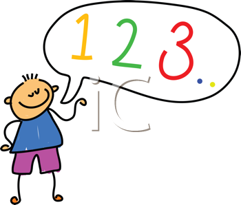 Royalty Free Clipart Image of a Child Counting