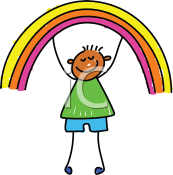 Royalty Free Clipart Image of a Child With a Rainbow