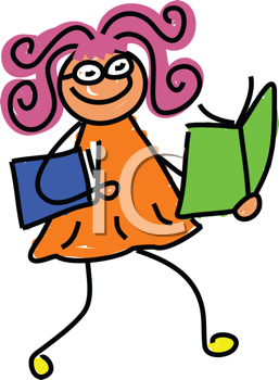 Royalty Free Clipart Image of a Girl With a Book