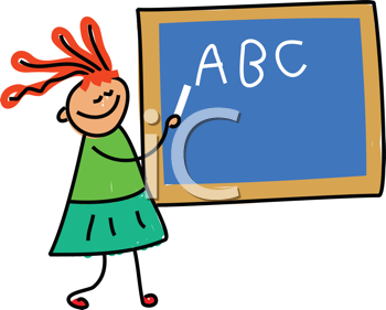 Royalty Free Clipart Image of a Girl Writing on a Chalkboard