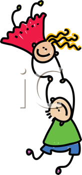 Royalty Free Clipart Image of Two Children