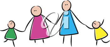 Royalty Free Clipart Image of a Family Holding Hands