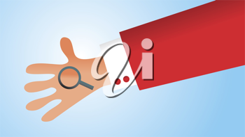 Royalty Free Clipart Image of a Hand Holding a Magnifying Glass