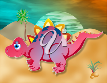 Royalty Free Clipart Image of a Small Dinosaur