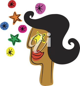 Royalty Free Clipart Image of a Starry Eyed Woman