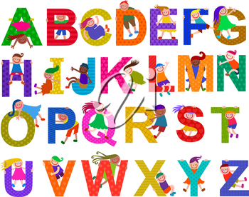 A set of alphabet letters with happy and diverse children climbing over them.